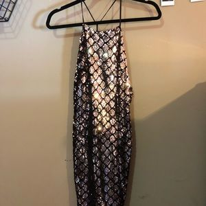 Solemis LA gold sequin mini dress never worn
